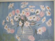 Blue Flowers Acrylic Painting by Diane Roblin-Lee
