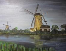 Dutch Windmills Acrylic Painting by Diane Roblin-Lee