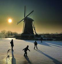 Windmill and 4 Girls - painting by Diane Roblin-Lee